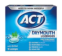 ACT Dry Mouth Lozenges with Xylitol Soothing Mint - 18 Count