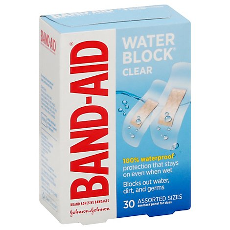 BAND-AID Water Block Plus Adhesive Bandages Clear Assorted - 30 Count