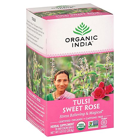 Organic India Tulsi Tea Organic Caffeine Free Sweet Rose 18 Count - 1.01 Oz