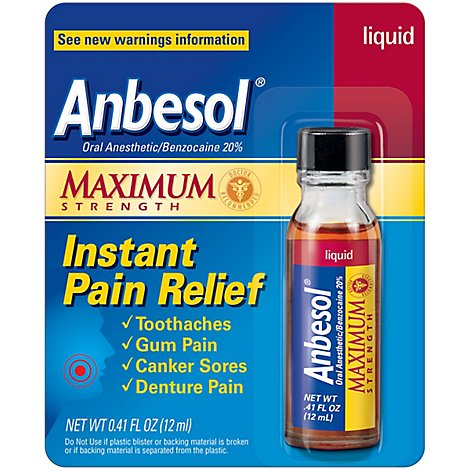 Anbesol Pain Relief Instant Maximum Strength Liquid - 0.41 Fl. Oz.