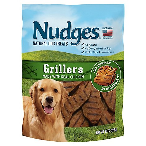 Nudges Dog Treats Grillers Natural Ingredients Real Chicken Pouch - 10 Oz