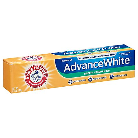 ARM & HAMMER Toothpaste Fluoride Anticavity Advance White Breath Freshening Frosted Mint - 6 Oz