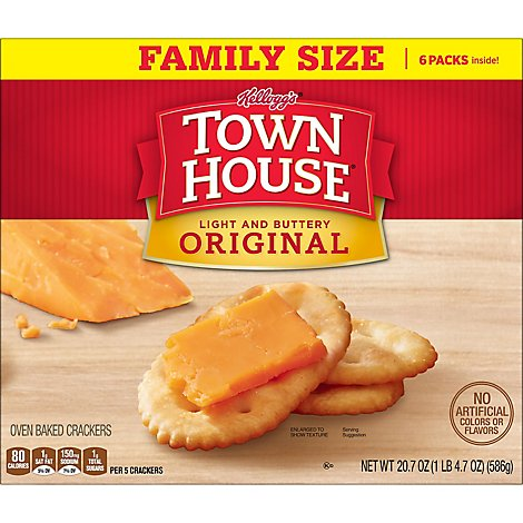 Town House Crackers Oven Baked Original Family Size 6 Count - 20.7 Oz