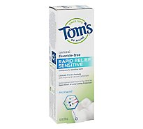 Toms of Maine Toothpaste Fluoride Free Rapid Relief Sensitive Fresh Mint - 4 Oz