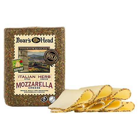 Boars Head Cheese Mozzarella Whole Milk Italian Herb - 1.00 LB