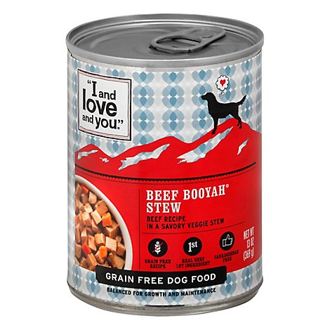 I And Love And You Dog Food Natural Grain & Gluten Free Beef Booyah Stew Can - 13 Oz