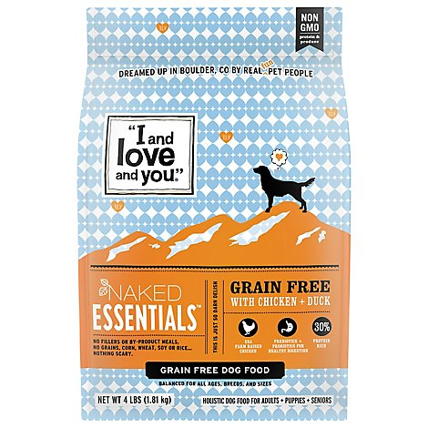 I And Love And You Naked Essentials Dog Food Chicken & Duck Bag - 4 Lb