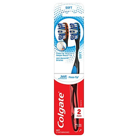 Colgate 360 Advanced Toothbrush Floss Tip Bristles Soft Value Pack - 2 Count