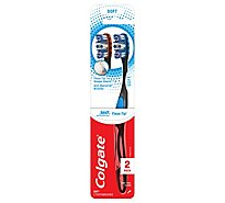 Colgate 360 Degree Toothbrush Total Advanced Floss-Tip Bristles Soft 254 Value Pack - 2 Count