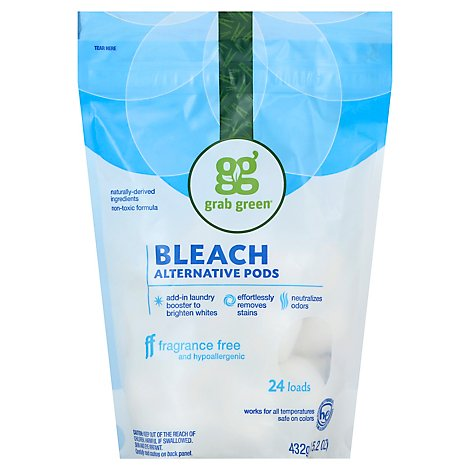 Grab Green Bleach Pods Alternative Fragrance Free 24 Loads Pouch - 15.2 Oz