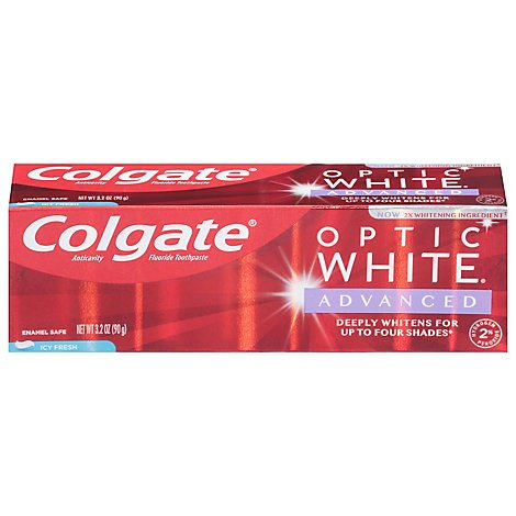 Colgate Optic White Advanced Toothpaste Anticavity Fluoride Icy Fresh - 3.2 Oz