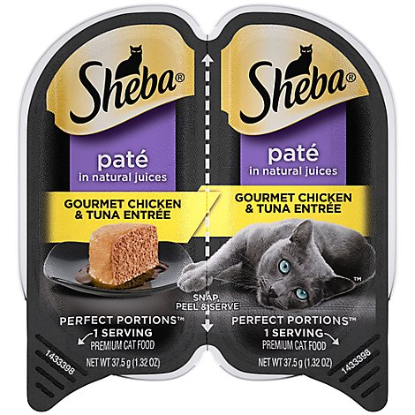 Sheba Perfect Portions Cat Food Premium Pate Chicken & Tuna Entree Tray - 2-1.3 Oz