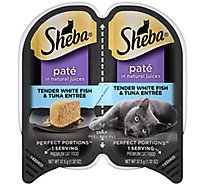 Sheba Perfect Portions Cat Food Premium Pate Tender Whitefish & Tuna Entree Tray - 2-1.3 Oz
