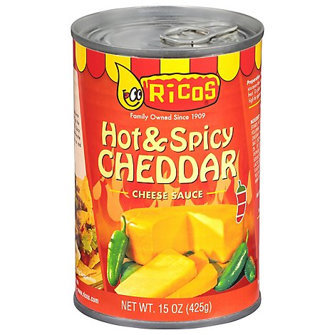 Ricos Sauce Cheese Cheddar Hot & Spicy Can - 15 Oz