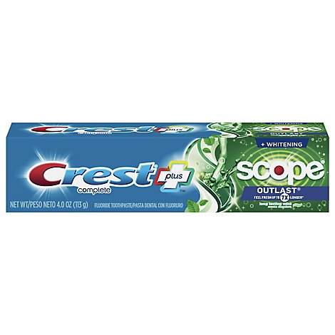 Crest Complete Toothpaste Fluoride Multi-Benefit Whitening + Scope Outlast Mint - 4 Oz
