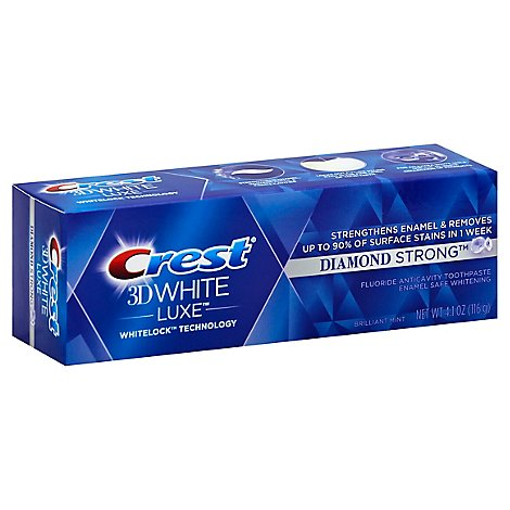 Crest 3D White Luxe Toothpaste Fluoride Anticavity Diamond Strong Brilliant Mint - 4.1 Oz