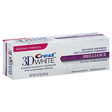 Crest 3D White Toothpaste Fluoride Anticavity Original Formula Brilliance Mint - 4.1 Oz