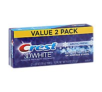 Crest 3D White Toothpaste Fluoride Anticavity 3 Benefits In 1 Arctic Fresh Value Pack - 2-4.8 Oz