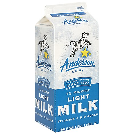 Anderson 1% Low Fat Milk - Half Gallon