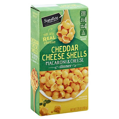 Signature SELECT Macaroni & Cheese Dinner Cheddar Cheese Shells Box - 7.25 Oz