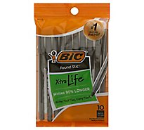 BIC Ball Pens Xtra-Life Round Stic Medium (1.0 mm) Black Ink - 10 Count