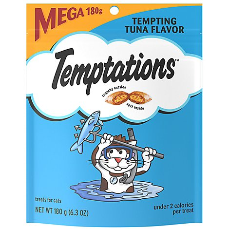 TEMPTATIONS Classic Cat Treats Crunchy And Soft Tempting Tuna Flavor - 6.3 Oz