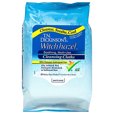 TN Dickinsons Cleansing Cloths Witch Hazel - 25 Count