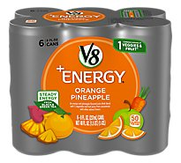 V8 V-Fusion +Energy Vegetable & Fruit Juice Orange Pineapple 6 Pack - 6-8 Fl. Oz.