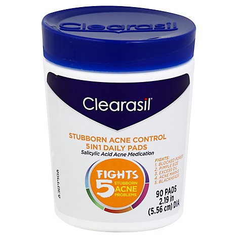 Clearasil Daily Pads 5In1 Stubborn Acne Control With Salicylic Acid Acne Medication - 90 Count