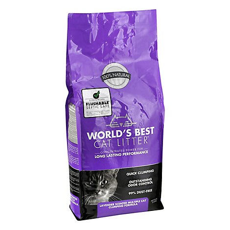 Worlds Best Cat Litter Clumping Formula Multiple Cat Lavender Scented Bag - 8 Lb