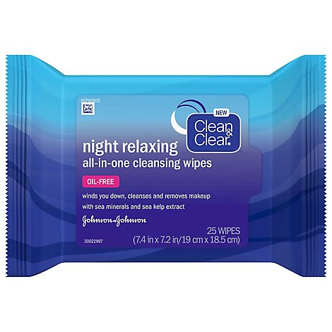 Clean & Clear Wipes Cleansing All-in-One Night Relaxing - 25 Count