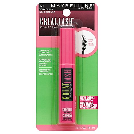 Maybelline Mascara Great Lash Curved Brush Very Black 121 - 0.43 Fl. Oz.