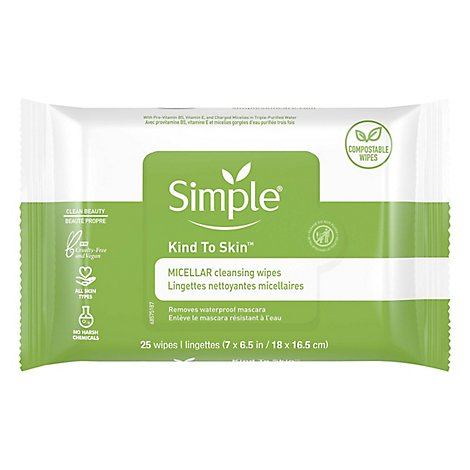 Simple Kind To Skin Wipes Cleansing Micellar - 25 Count