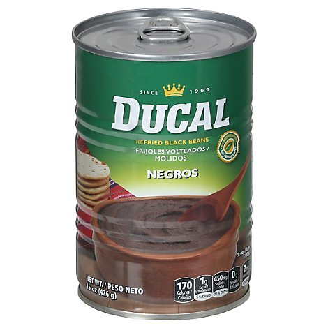 Ducal Beans Refried Black Can - 15 Oz