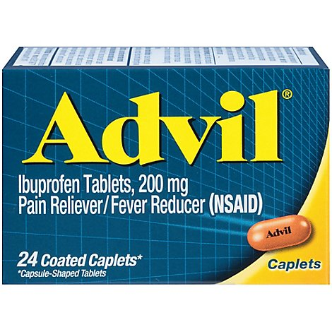 Advil Pain Reliever/Fever Reducer Coated Caplet Ibuprofen Temporary Pain Relief - 24 Count