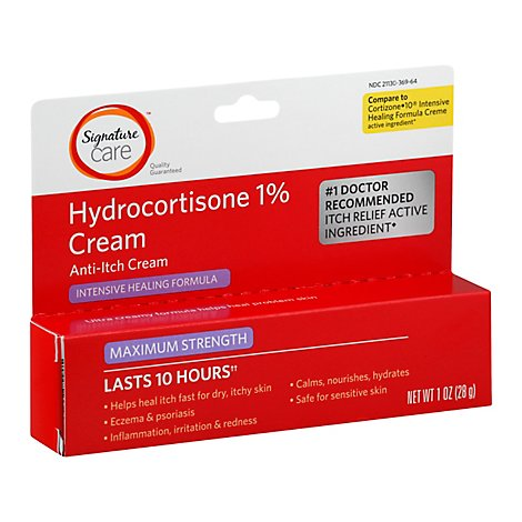 Signature Care Cream Anti Itch Hydrocortisone 1% Healing Formula Maximum Strength - 1 Oz