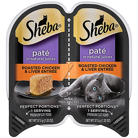 Sheba Perfect Portions Cat Food Premium Pate Roasted Chicken & Liver Entree Tray - 2-1.3 Oz
