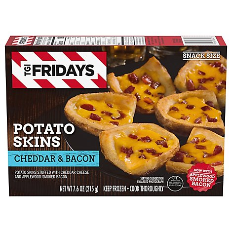 T.G.I. Fridays Frozen Appetizers Cheddar And Bacon Potato Skins - 7.6 Oz