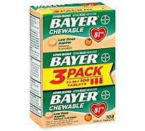 Bayer Aspirin Chewable Tablets Orange 81 mg - 108 Count