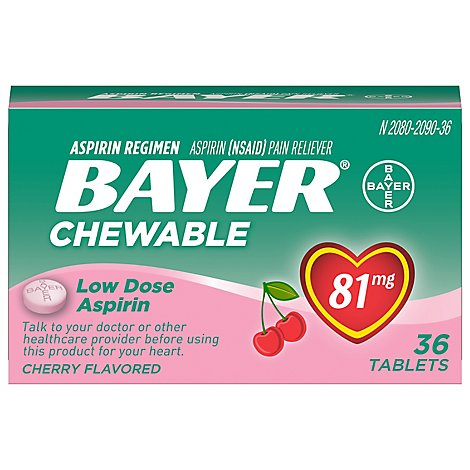 Bayer Aspirin Tablets 81mg Chewable Low Dose Cherry Flavored - 36 Count