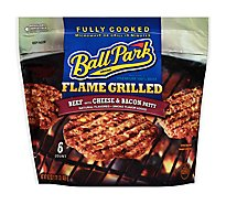 Ball Park Hot Dogs Beef Patty Flame Grilled With Cheese & Bacon 6 Count - 16.2 Oz