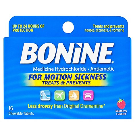 Bonine For Motion Sickness Chewable Tablets Raspberry Flavored - 16 Count