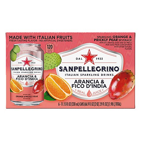SANPELLEGRINO Sparkling Fruit Beverage Prickly Pear & Orange - 6-11.15 Fl. Oz.
