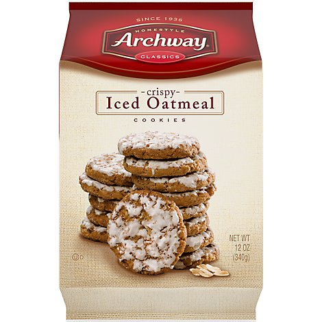 Archway Homestyle Classics Cookies Crispy Iced Oatmeal - 12 Oz