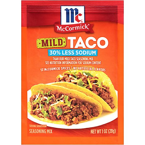 McCormick Seasoning Mix Taco Mild 30% Less Sodium - 1 Oz