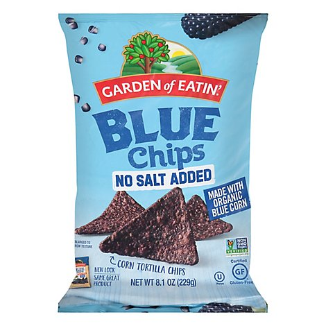 Garden of Eatin Tortilla Chips Corn Blue Chips No Salt Added - 8.1 Oz