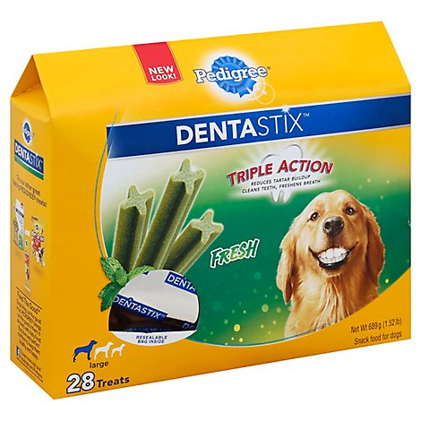 PEDIGREE DentaStix Dog Treats Fresh Large Box 28 Count - 1.52 Lb