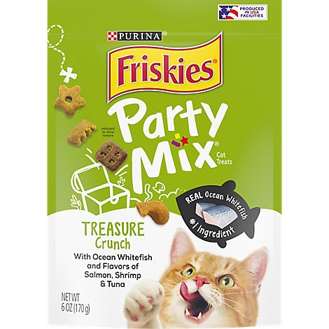 Friskies Cat Treats Party Mix Ocean Whitefish & Flavors Of Salmon Shrimp & Tuna - 6 Oz