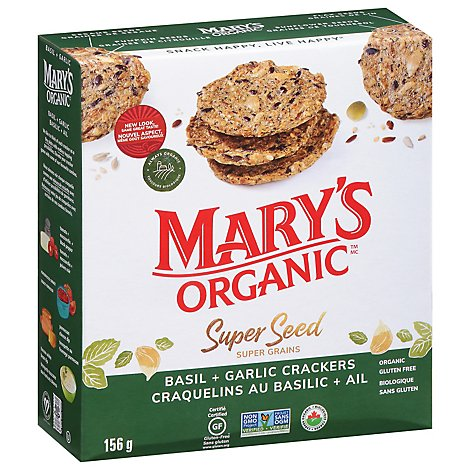Marys Gone Crackers Super Seed Organic Basil & Garlic - 5.5 Oz
