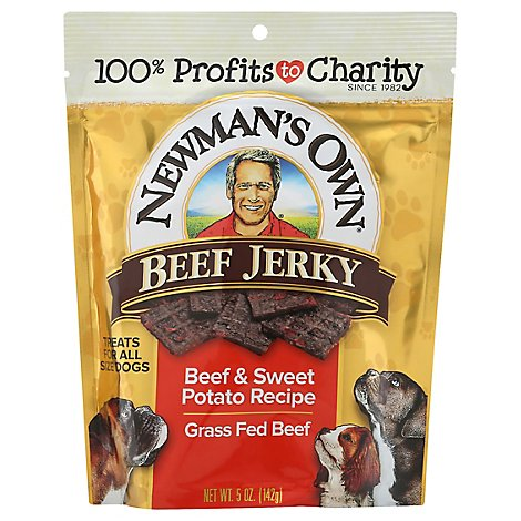 Newmans Own Dog Treat Beef Jerky Beef & Sweet Potato Recipe Pouch - 5 Oz
